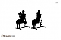 Seated Dumbbell Curls Silhouette Clipart