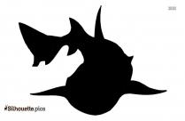 Cartoon Surfing Shark Silhouette Clipart