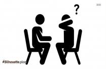 Silhouette Of 2 People Talking