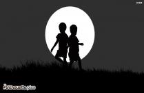 Happy Children Silhouette