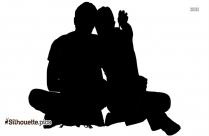 Couple Sitting And Chatting Silhouette