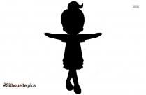 Silhouette Of Cute Girl Dancing