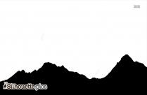 Mountain Sunset Birds Vector Silhouette