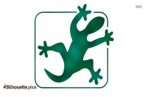 White Lizard Silhouette On Green Background