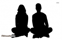 Sitting Couple Silhouette Vector