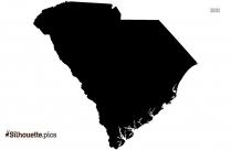 South Carolina Map Clip Art, Silhouette