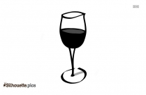 Cartoon Cheers Wine Glass Csilhouette