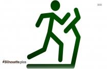 Stick Figure Running On Treadmill Silhouette Vector