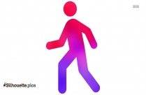 Cartoon Persons Walking Downstairs Vector Silhouette