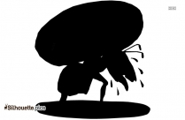Strength Cartoon Clipart, Ant Carrying Load Silhouette Vector