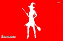 Stylish Witch With Broom Silhouette Picture