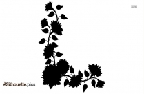 Sunflower Border Silhouette Vector