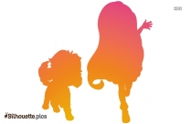 Sunny Day Girl And Dog Cartoon Silhouette
