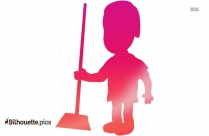 Sweeper Man Silhouette Free Vector Art