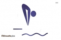Swimmer Diving To Water Icon Silhouette