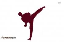 Black And White Taekwondo Girl Silhouette