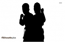 Teenager Karate Pose Silhouette Vector And Graphics