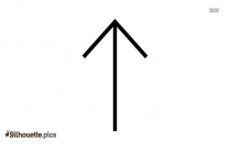 Thin Arrow Pointing Upward Vector Silhouette