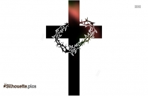 Thorny Crown With Jesus Cross Silhouette