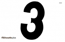 Three Clipart || Three Individual Number Silhouette
