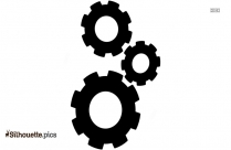 Three Cogs Black And White Silhouette
