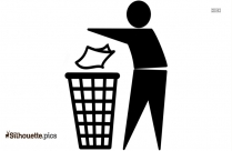 Throwing Garbage In Dustbin Clipart Silhouette