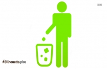 Throwing Waste In Dustbin Silhouette