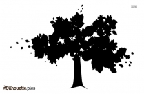 Tree With Falling Leaves Silhouette