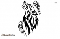 Tribal Howling Wolf Drawing Silhouette