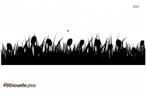 Tulip Border Silhouette Black And White