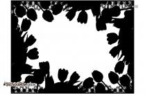 Tulip Border Silhouette Black And White