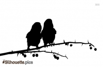 Two Birds On Branch Silhouette