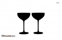 Two Champagne Glasses Silhouette
