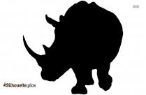 Two Horned Rhinoceros Silhouette Art