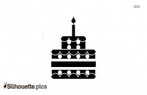 Two Layer Birthday Cake Icon Silhouette