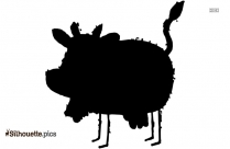 Cute Pig Silhouette Drawing