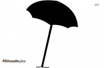Black And White Open Umbrella Silhouette Image