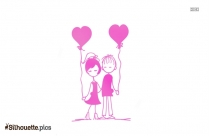 Valentine Couple Cartoon Silhouette Picture