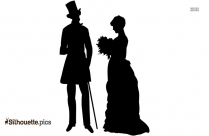 Victorian Couple Silhouette Drawing