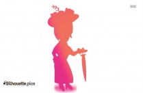 Victorian Lady Dancing Cartoon Silhouette
