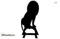 Cute Lion Sitting Clip Art Silhouette