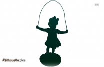 Vintage Girl Jumping Rope Silhouette Drawing