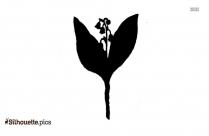 Vintage Lily Plant Silhouette Clipart
