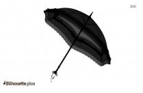Vintage Open Umbrellas Silhouette Clip Art