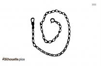 Vintage Watch Fob Clip Art, Clasp Sturdy Link Chain With Swivel Silhouette