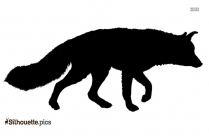 Black And White Lady Fox Cartoon Silhouette