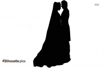 Wedding Couple Black And White Silhouette