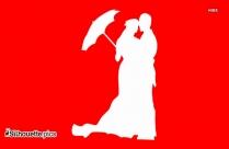 Wedding Couple With Umbrella Silhouette Vector