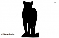 Lion Cub Silhouette Art, Wild Animal Clipart Image