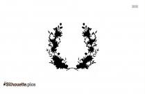 Cartoon Wildflower Wreath Silhouette